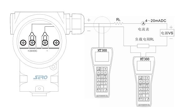 RT手操器连接示意图:-电容式压力 差压变送器