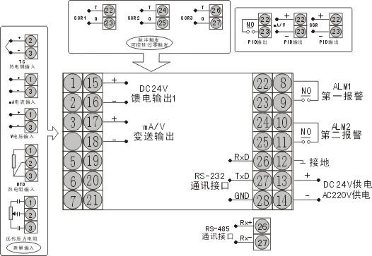 D805横式接线图:-液晶显示智能PID调节器 温控器图片